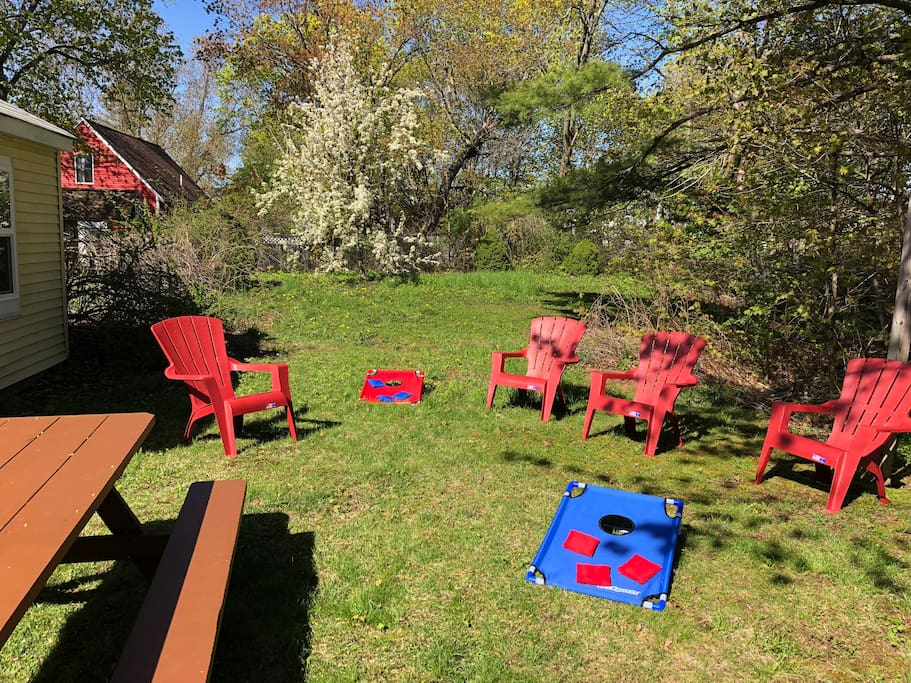 Relax in the sunny backyard.  Grill, hammock and Yard games!