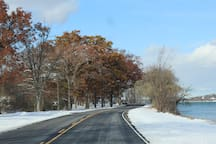 Niagara Parkway is a picturesque drive or bicycle ride which follows the Niagara River right to the falls