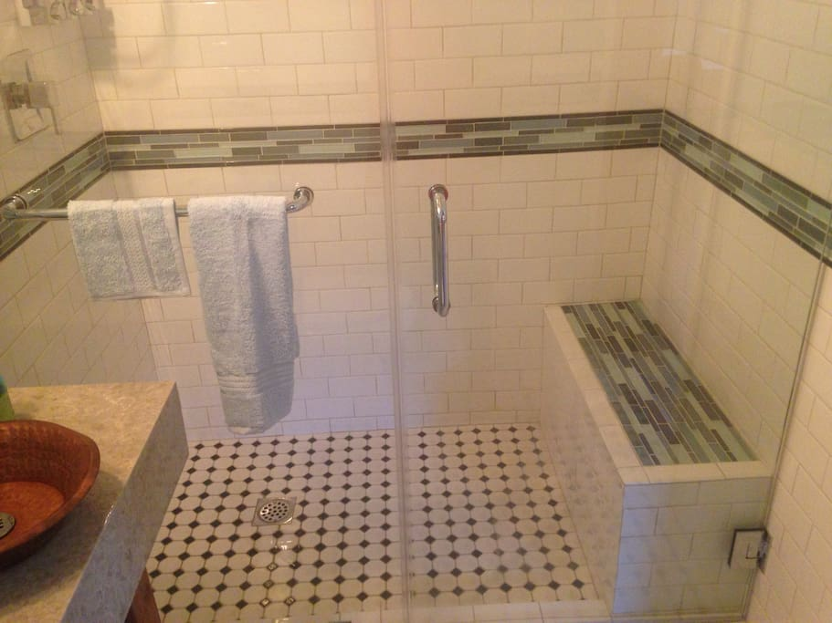 Accessible shower with bench