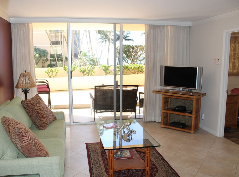 Walk out the living room to the lanai