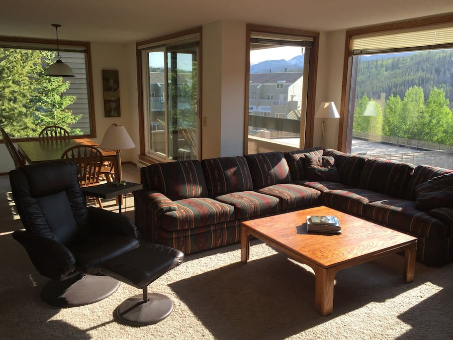Bright and sunny living room with views of the Continental Divide!