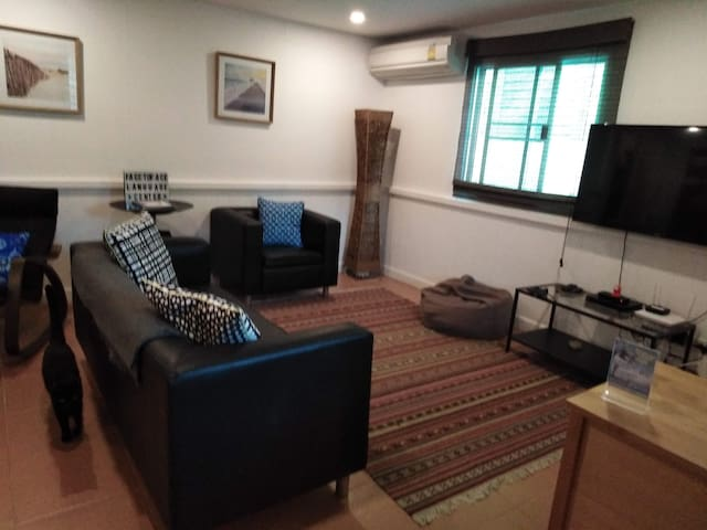 Big room in house with skate ramp near BKK airport