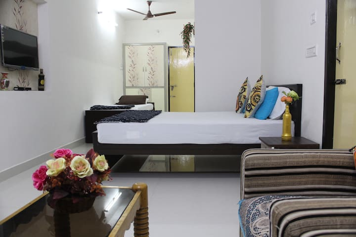 Room has facilities like AC, Wifi, TV with Dish connection and kitchen and attached bathroom in the ground floor