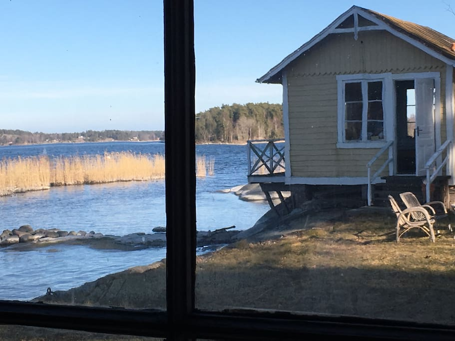 Cottage on the water - picture taken from inside the Sauna.