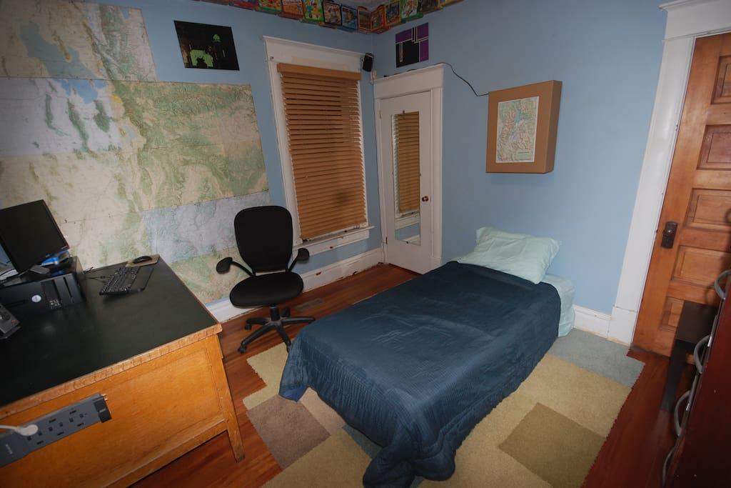 This is the upstairs bedroom - recently updated to queen bed