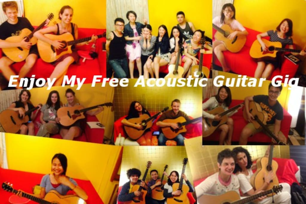 My Free Acoustic Guitar Gig photo. More than 100 guests enjoyed my gig.  (-^-^-)