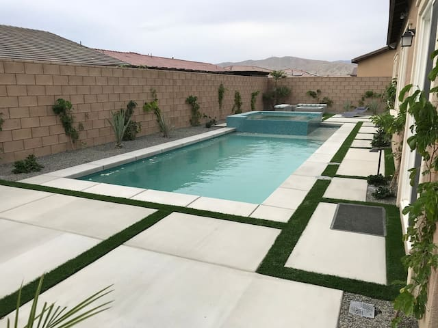 Brand new salt water pool with extra large raised spa