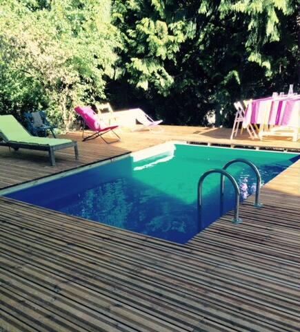 F2 rez-de-jardin 60m² avec piscine en centre ville - Clermont-Ferrand - Apartamento