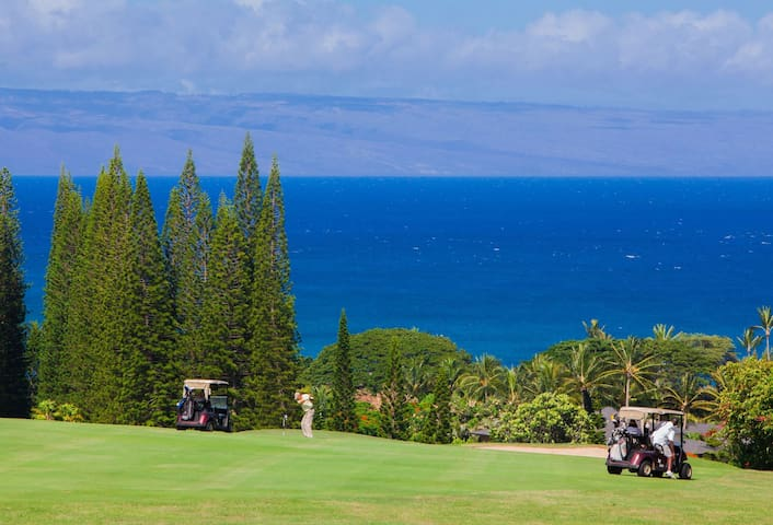 Enjoy fabulous views of the Bay Course and island of Lanai in distance
