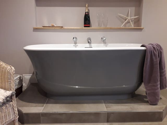 bathtub in the bedroom!