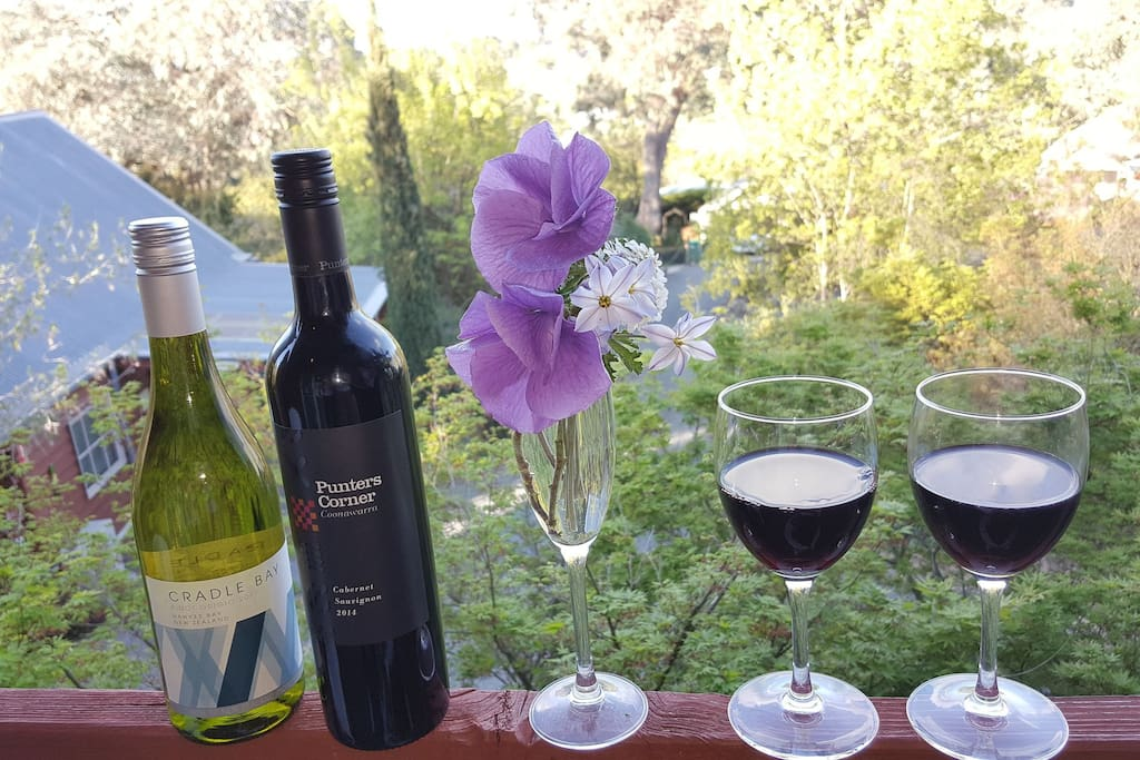 Enjoy an afternoon drink on the upstairs balcony whilst taking in the beautiful garden surrounds
