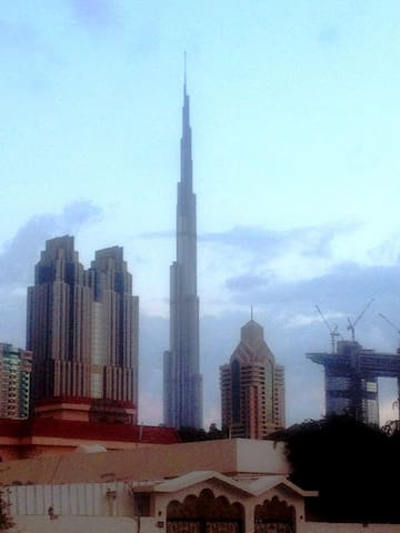 Bed space with Burj Khalifa view. Close to metro