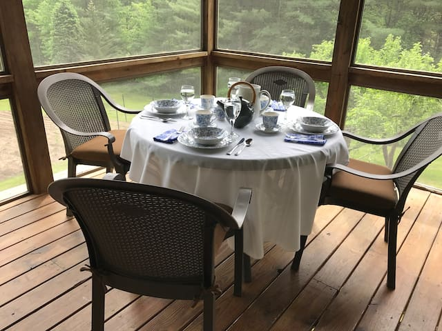 The perfect spot to share a meal, have AM coffee, read, or relax with friends