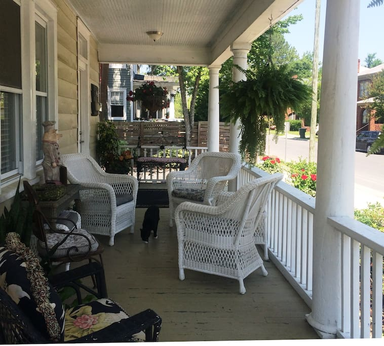 """Porching"" is a southern tradition so grab a cool one and visit with your neighbors as they walk their dogs."