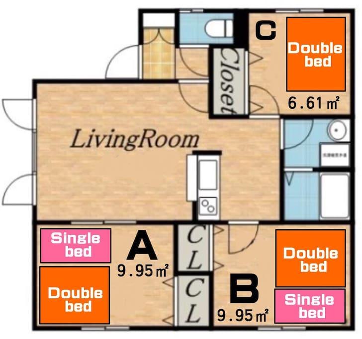 3Bedroom+Livingroom