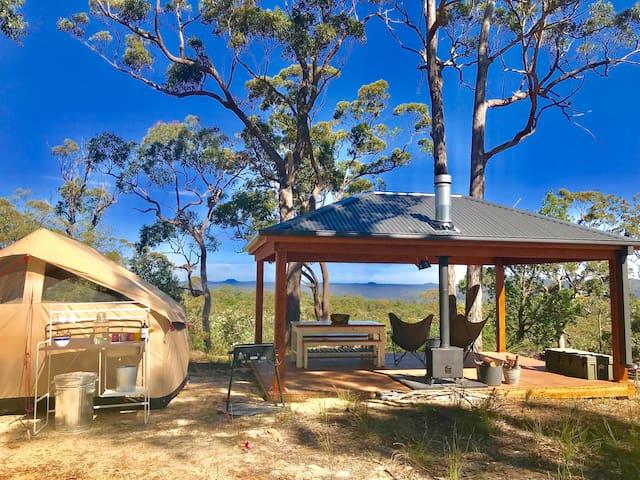 Glamp UNESCO Wilderness at Wombat Ridge's Pavilion