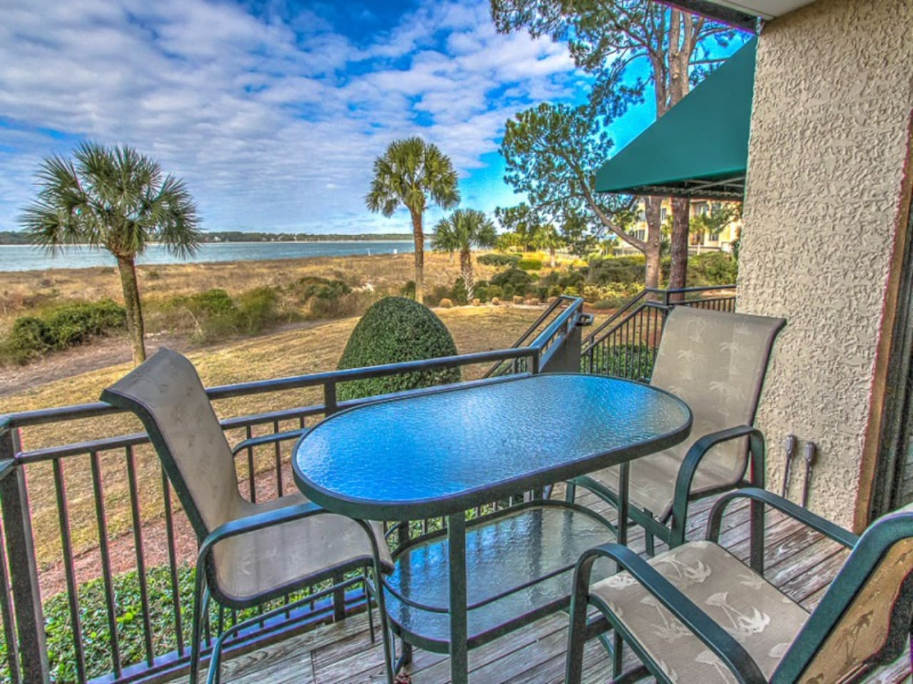 Balcony with Calibogue Sound Views at 1884 Beachside Tennis