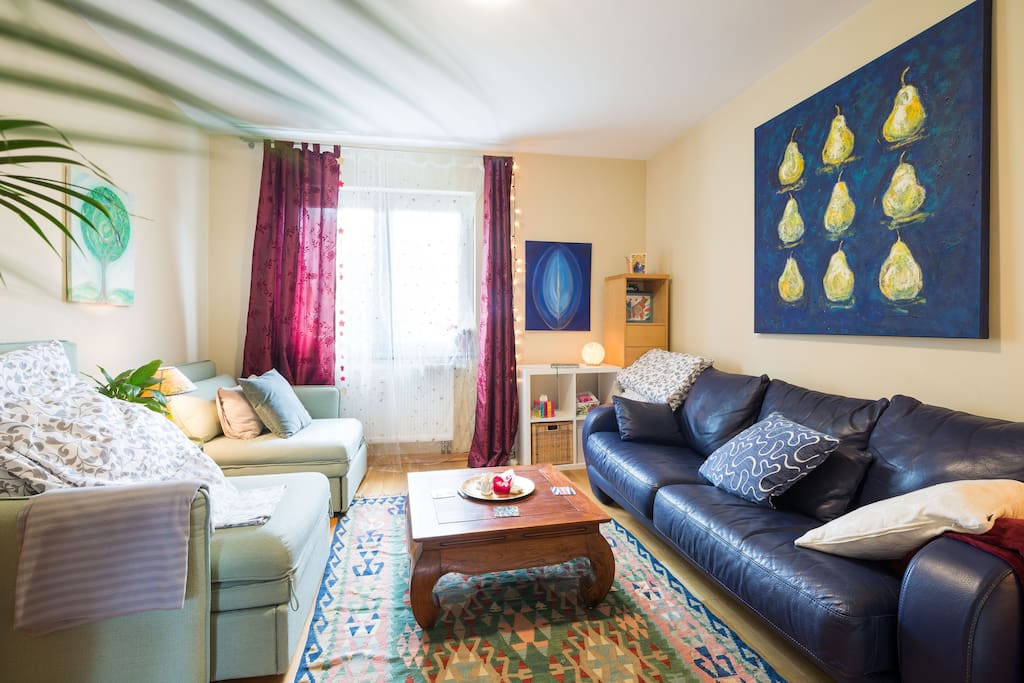 The living-room is also bed-room for maximum 3 people. You can have an extra double-bed or 3 single-beds.