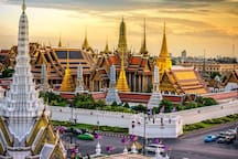 Grand palace or Wat Phra Kaew easy by boat, drop off at Tha Chang, walk for 5 mins. Super authentic!
