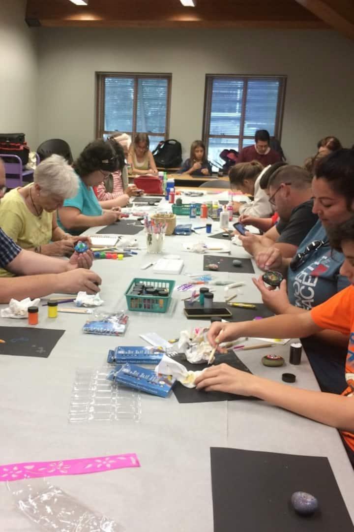 Mandala art class at the library