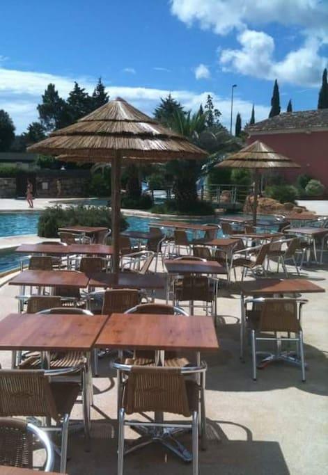 The swimingpool on the resort.