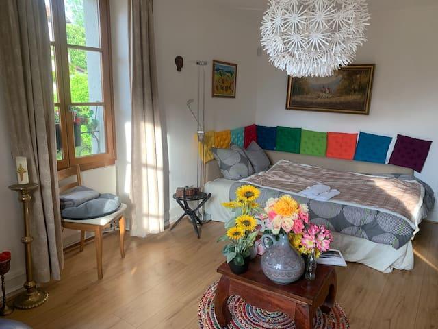 Wohnzimmer mit TV und gemütlicher Schlafcouch (140cm x 200 cm)