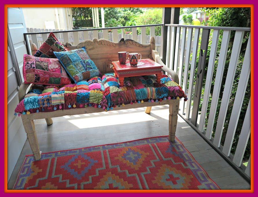 Relax on the front deck outside your bedroom window with a tea or coffee.