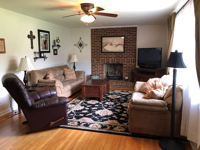 Living room with gas fireplace and lots of natural light.