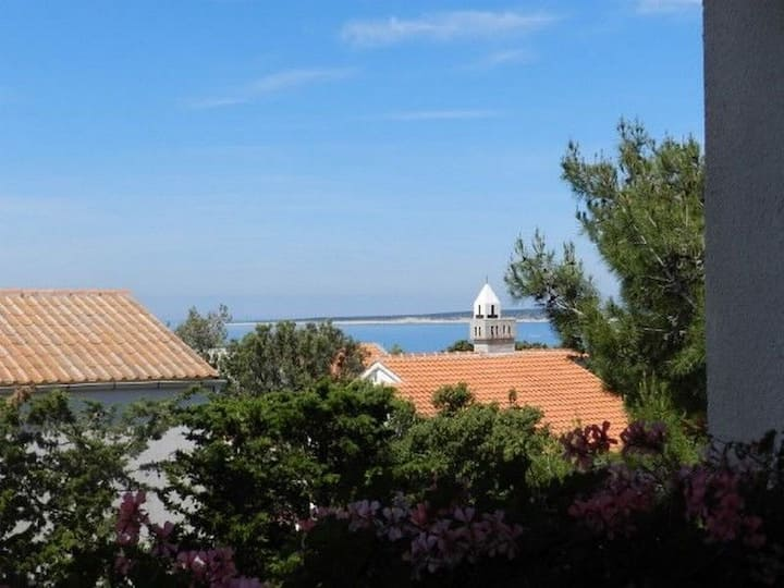 Two Bedroom Apartment, 200m from city center, seaside in Mandre - island Pag, Terrace