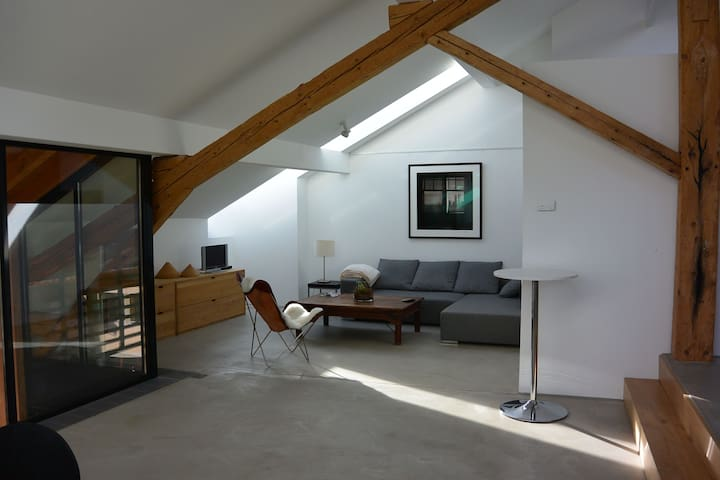 Modern apartment in an old village house.