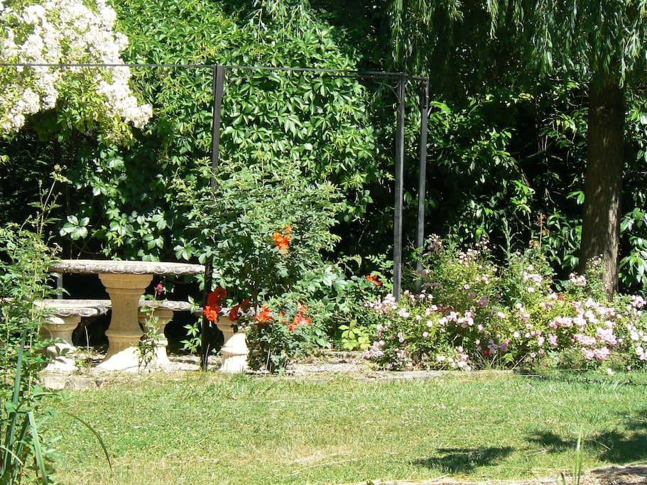 salon de jardin sur le bord de l'étang