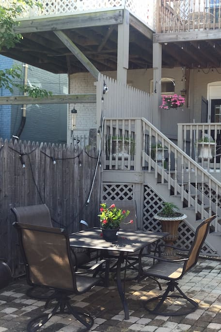 Patio area available for guests to relax, have a glass of wine or dinner using the grill or smoker.