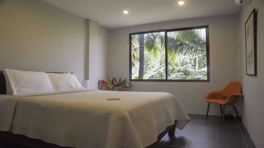 Queen bedroom is one of 6 all air-conditioned, ready for all in your group.