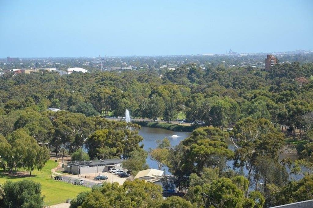 View across the River Torrens to the ocean, from the balcony