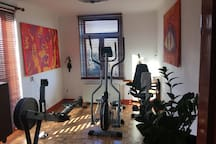 The fitness room on the second floor