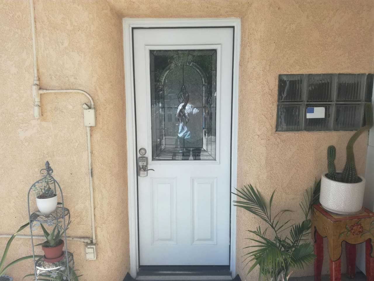 This is the front door and we will give you the code to open.
