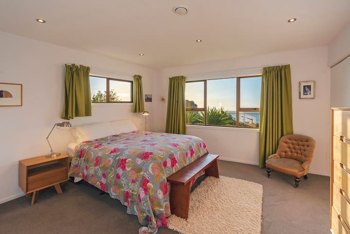 Master bedroom (upstairs) with Sea Views, now with Super King bed