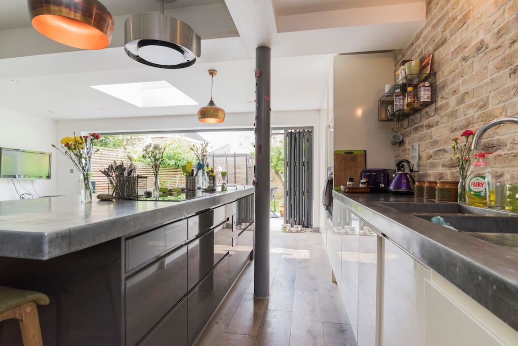 Fully fitted kitchen with cooking equipment