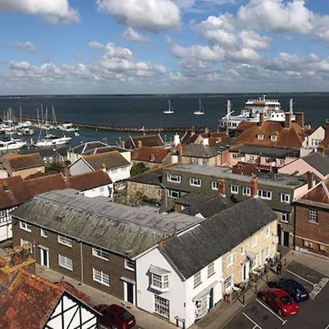 Birds Eye View showing the Wightlink ferry coming into Yarmouth - the apartment is a ten minute drive from Yarmouth.