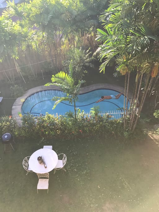 Cold dipping 5feet-7feet Depth private pool, shared by house guests.