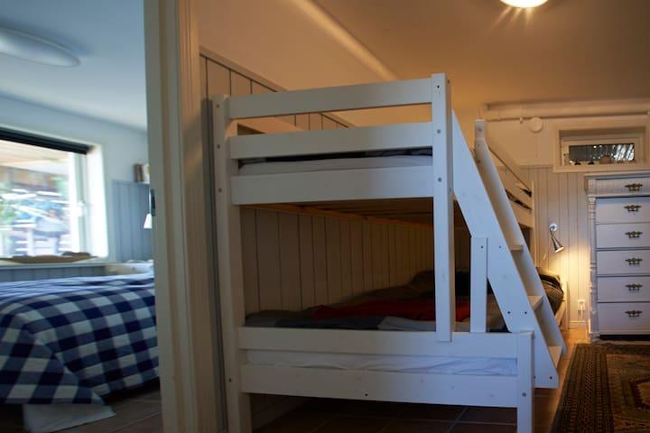 Second bedroom. Singel bed on top. Double bed under.