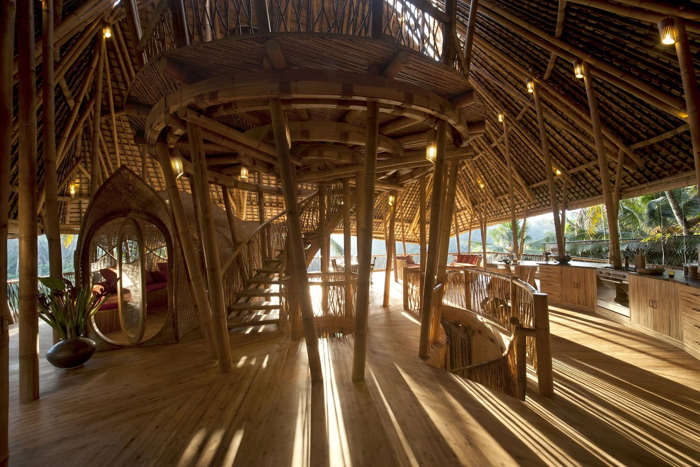 All bamboo treehouse in Ubud village by the river.