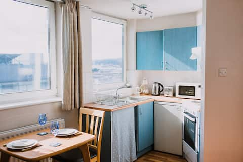 Bright 1 bed apt, WiFi & free parking