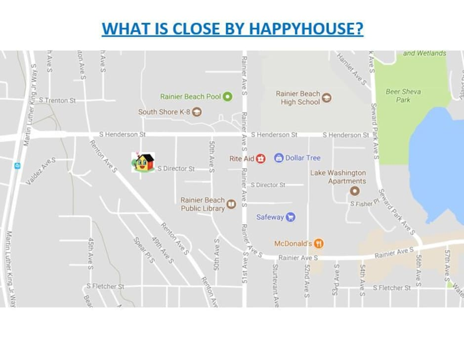 Grocery stores, restaurants, park, banks and public transit stations are all within 10 minutes walk from Happyhouse.