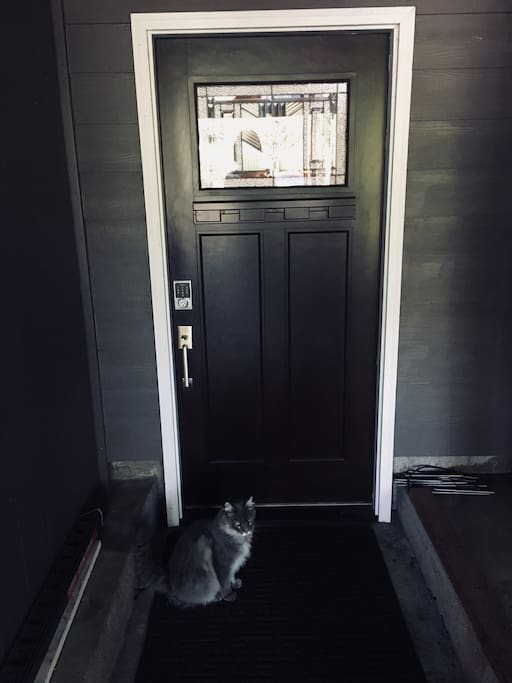 Private entrance with keypad
