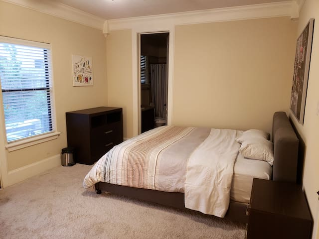 Private master BR with king bed in great location