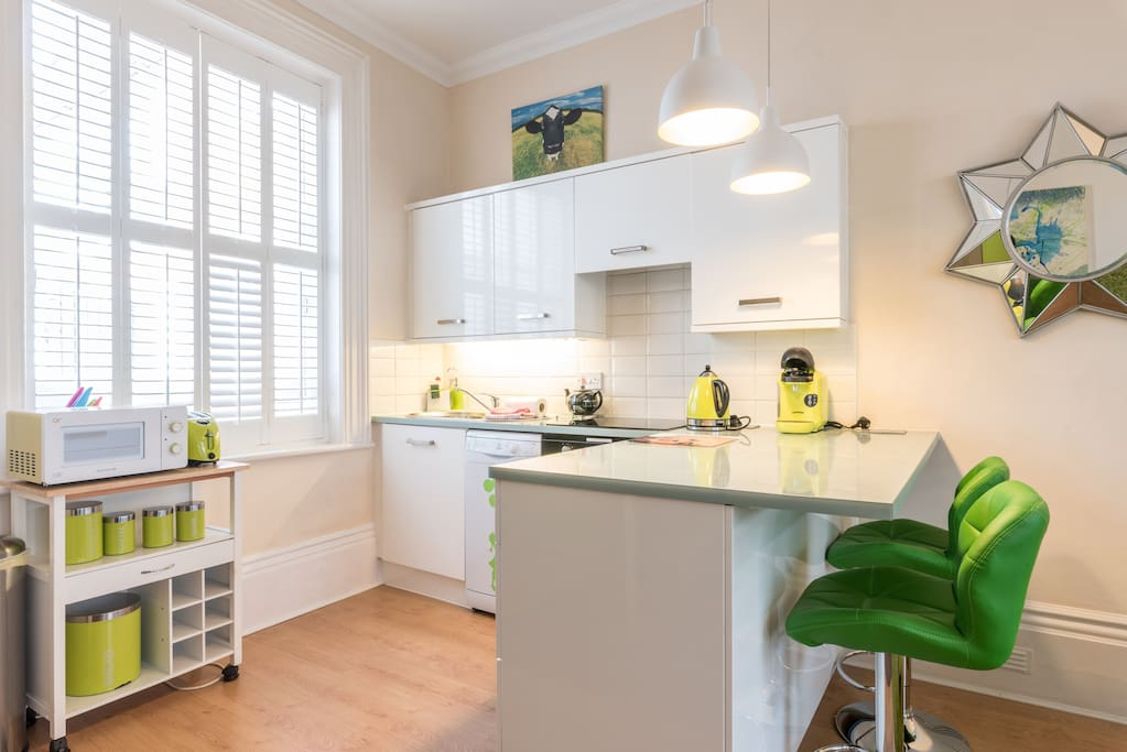 The bright & modern kitchen area comes fully loaded.