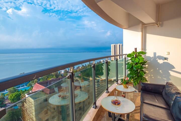 【每天】180度环海大阳台无限高层海景大三房