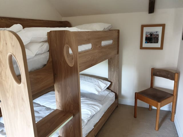 Second bedroom with adult bunk beds