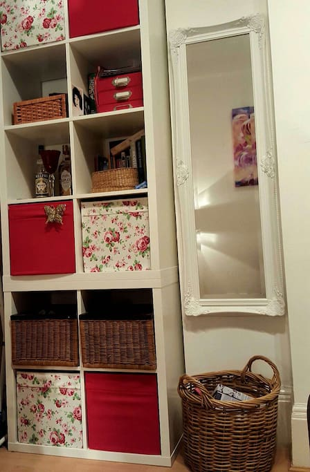 Large mirror and storage